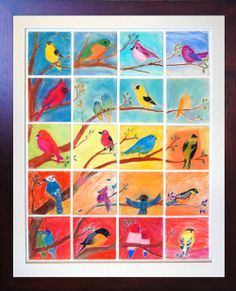 Pastel birds made 4th graders at SunRidge Waldorf Charter for school auction