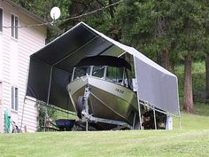 Customer photo gallery of projects made possible by Creative Shelters. Pontoon Boat Covers, Boat Shed, Diy Boat, Boat Accessories, Pvc Pipe, Shelters, Crotchet, Sheds, Boating