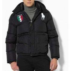 Polo Ralph Lauren Men Full Zip Italy Flag Down Jacket Black Ralph Lauren Winter Coats, Polo Ralph Lauren, Ralph Luaren, Polo Jackets, Man Down, Sweater Jacket, Canada Goose Jackets, Winter Jackets, Italia