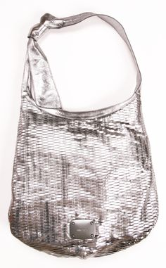 Jimmy Choo metallic silver slashed hobo bag