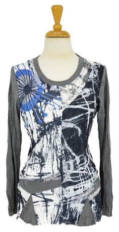 Grey Blue Abstract Tunic~ Best selection of Tunics & matching accessories ~ Flat postage worldwide ~ Petite to Plus sizes ~ www.ilovetunics.com