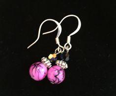 Hot Pink Glass Earrings