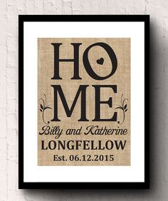 Please include the first names, last name and the est. date in the notes to seller area when checking out. Burlap makes a great housewarming gift Printed Burlap, Printing On Burlap, Burlap Wall Decor, Work Gifts, Great Housewarming Gifts, Home Wedding, First Names, Custom Homes, Stitching
