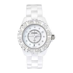 Chanel J12 Diamond Bezel White Ceramic Unisex Watch ($14,784) ❤ liked on Polyvore featuring jewelry, watches, accessories, chanel, bracelets, diamond bezel watches, analog wrist watch, white face watches, ceramic crowns and ceramic jewelry