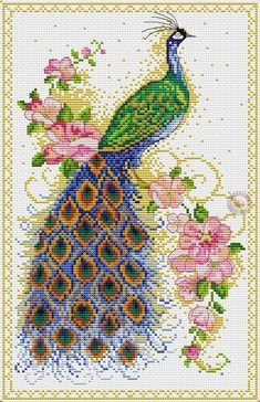 Free peacocks cross stitch charts: