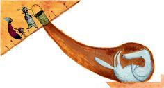 Así acaba el lobo malo en la versión de Caperucita Roja ilustrada por Miguel Tanco. El artista español crea una Caperucita distinta, gitanilla, para un libro lleno de color, escrito por Pepe Maestro. Caperucita Roja pertenece a la colección Colorín Colorado, creada por la editorial de literatura infantil y juvenil Edelvives para acercar los cuentos de siempre a los niños de hoy. Cada cuento va acompañado de un CD con la narración de la historia y sonidos de ambiente.