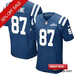 9b8d716c2  129.99 Men s Nike Indianapolis Colts  87 Reggie Wayne Elite Team Color 30th  Seasons Patch Blue Jersey