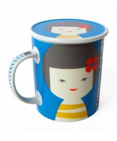 Blue Kokeshi Mug