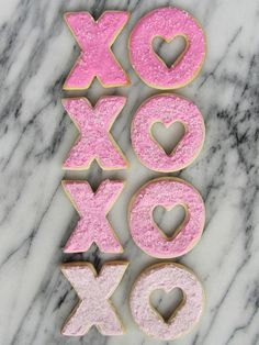 ombre x's + o's sugar cookies with royal icing