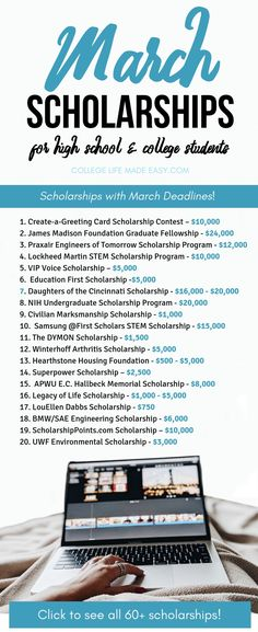The big UP TO DATE list of March Scholarships for high school and college students There are over 60 opportunities to score money for covering college tuition fee costs. Scholarships For College Students, School Scholarship, Grants For College, College Majors, College Tuition, Financial Aid For College, Online College, College Tips, Student Loans
