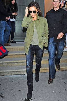 This Is Victoria Beckham's Definition Of #LazyGirl #refinery29  http://www.refinery29.com/victoria-beckham-military-jacket#slide-1  The most stylish fatigues, ever.