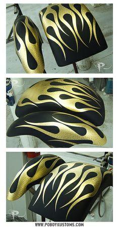 Gold leaf motorcycle fenders by ash561, via Flickr