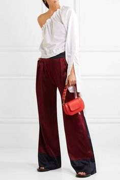 Anya Hindmarch - 1295 Red, burgundy and orange leather Two-way zip-fastening front flap Designer color: Geisha Comes with dust bag Weighs approximately 0.2lbs/ 0.1kg Made in Italy