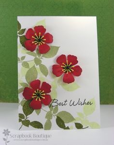 handmade card ... dimensional cherry blossoms ... Memory Box die ... red .,. tutorial on the blog ...  sweet!!