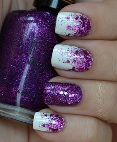 Too sparkly but I like the idea of easing into the accented nail to make it blend better.