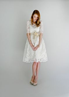 Price DropEllie2 Piece Lace and Cotton Wedding by Leanimal on Etsy