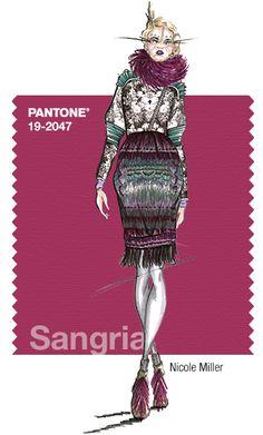 Nicole Miller - PANTONE Color Sangria - Fall 2014 Pantone Fashion Color Report