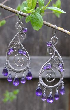 Amethyst Silver Spiral Paisley Earrings                                                                                                                                                                                 More