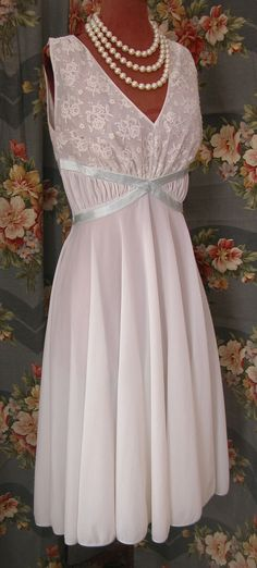 Vintage 50s White Lace Nylon Eyeful by the Flaums GODDESS Flowy Nightgown Baby Blue Grecian Style Wrap Belt Size 34 Excellent Condition