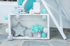 Shine like a Star! Baptism Decorations, Party Decoration, Baby Boy Baptism, Baby Boy Rooms, Little Star, Twinkle Twinkle, Christening, Toy Chest, Toddler Bed