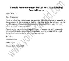 Learn to frame a professional letter format for discontinuation of special leaves using the sample template to create customized announcement letter in a formal way.