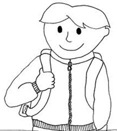 First Day of School, : A Boy with His Backpack on First Day of School Coloring Page School Coloring Pages, Online Coloring Pages, School Colors, One Day, First Day Of School, Coloring Sheets, Activities For Kids, Snoopy, Boys
