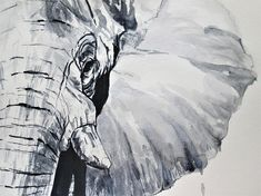 original elephant art in black and white African elephant