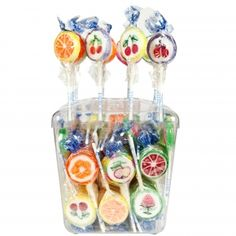 Rocks Lolli 100er Dose 100 einzeln gewickelte Lollis mit Fruchtmotiven, 6-fach sortiert. Mit natürlichen Farben und Aromen. Marzipan, Marshmallows, Measuring Spoons, Wind Chimes, Candy, Retro, Sweet, Vintage, Rocks