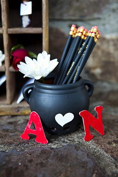 guest book pencil cup...if I have one, I just loved that it was our initials :)
