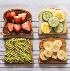 The best toast toppings, including Nutella and strawberries.