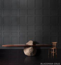menhir table | bc   each table is unique   solid granite boulder  CA walnut wood top
