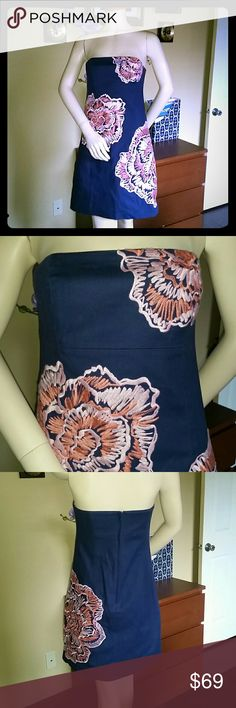 Embroidery Lilly Pulitzer Navy Dress New without tags. Gorgeous details. Lilly Pulitzer Dresses Midi