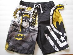 Batman Graphics Black Swim Trunks UV50 Protection Boys 6, 8 or 10 Retail $25 NWT #TMDCComics #SwimShorts.  Perfect for any little superhero!