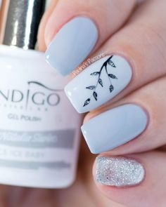 Easy Gel Nail Art - Sparkly Silver Leaves - Unhas decoradas com flor, folha, azul bebê e glitter. Gel Nail Art Designs, Simple Nail Designs, Stylish Nails, Trendy Nails, Diy Ongles, Gel Nagel Design, Super Nails, Nagel Gel, Perfect Nails