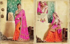 Georgette with Bandhej print Saree Pink and Orange colors /