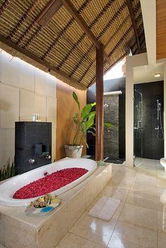 Indoor/outdoor Balinese bathroom