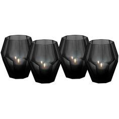 Eichholtz Okhto Black Tea Light Holders - Set Of 4 found on Polyvore featuring home, home decor, candles & candleholders, black, black home decor, black candles and black tealight holder