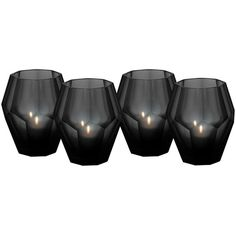 Eichholtz Okhto Black Tea Light Holders - Set Of 4 (2.079.270 IDR) ❤ liked on Polyvore featuring home, home decor, candles & candleholders, black, fillers, candles, black tealight holder, black candles and black home decor
