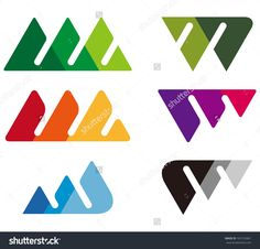 Design Mountain Logo Element. Crushing Abstract Triangle Pattern ...