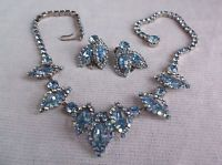 VTG Weiss Blue Aurora Borealis Rhinestone Necklace  Earrings  STUNNING!!
