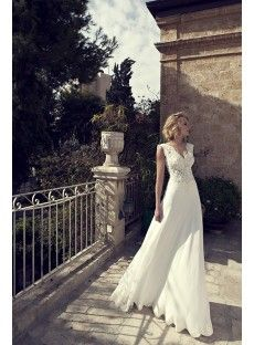 Sleeveless V Neck Sweep Train Chiffon A Line Wedding Dress With Appliques - USD $198.99