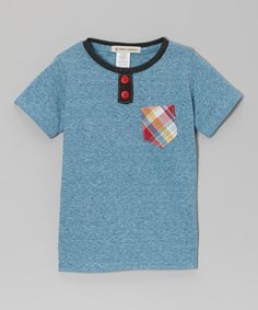 Take a look at this Aqua & Orange Plaid Pocket Henley - Infant, Toddler & Boys on zulily today!