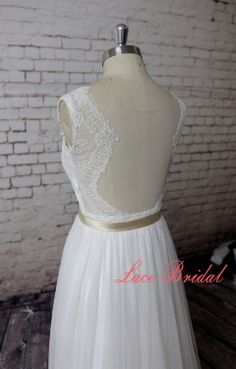 Sweetheart Wedding Gown Outside Bridal Gown Chiffon by LaceBridal, $220.00