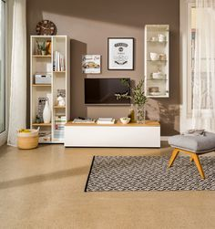 Micasa Wohnzimmer mit Wohnsystem TELL und Teppich KATHRIN Modern, Bookcase, Shelves, Living Room, Designs, Home Decor, Home Decoration, Photography, One And Only