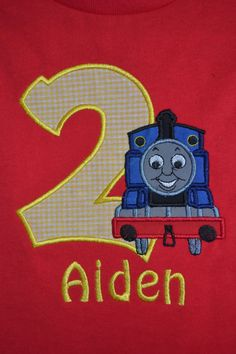 Custom Made to order Personalized Birthday Number with Thomas the Train Shirt available in sizes 6 month to Adult XL. $23.00, via Etsy.