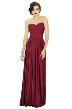 Dessy 2880 Sample Sale Bridesmaid Dress in Burgundy in Chiffon