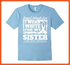 a0d57f6beed48 Mens I Wear White Support My Sister Lung Cancer Awareness Shirt XL Baby  Blue - Relatives