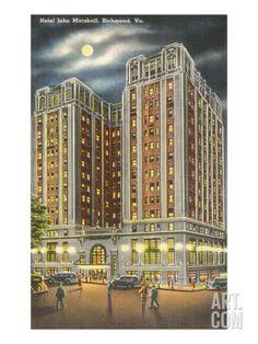 Moon over Hotel John Marshall, Richmond, Virginia Premium Poster at Art.com