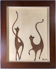 Charming abstract prancing cats. Wood on paper board. | eBay!