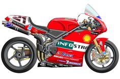 Ducati 998. SBK 2002-04 La 998 fue la evolución de la 996, de hecho Bayliss ya corrió en 2001 con el motor 998 en la 996R. Con la 998, Bayliss perdió el título en la última carrera de 2002 en Imola.